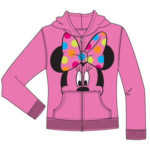 Disney Minnie Mouse Polka Dot Bow Girls Zipper Hoodie Sweater - Pink (XL) - SHOPME.COM
