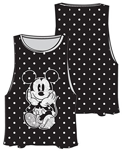 Disney Adult Womens Solo Mickey Mouse Tank Top Black White - SHOPME.COM