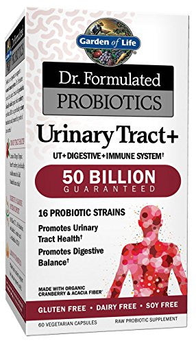Garden of Life Probiotic and Urinary Tract Health - Dr. Formulated Urinary Tract+ for Digestive and Urinary Tract Support, 60 Capsules - SHOPME.COM