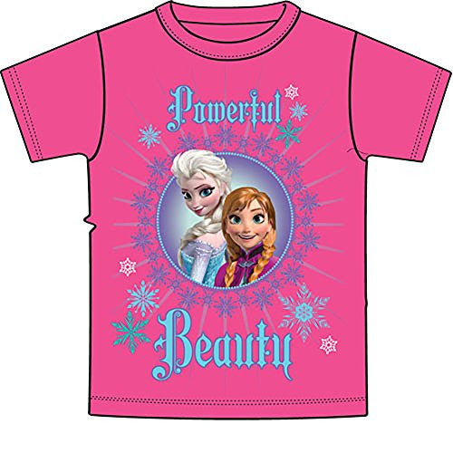 Disney Frozen Anna & Elsa 'POWERFUL BEAUTY' Girl T Shirt - Pink Blue SM