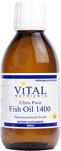 Vital Nutrients - Ultra Pure Fish Oil 1400 (Pharmaceutical Grade) - Deep Sea Liquid Fish Oil, Cardiovascular Support - 200 ml - SHOPME.COM