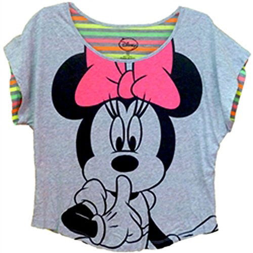 Disney Womens Minnie Mouse Quiet Fashion Top , Grey Heather - SHOPME.COM