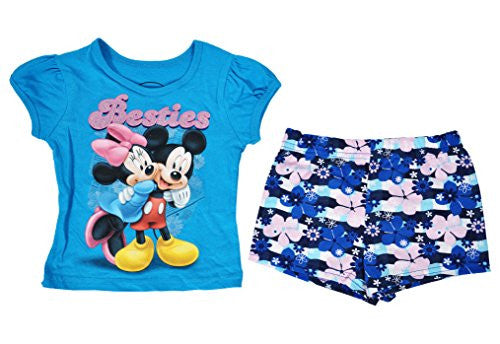 Disney Toddler Girl T-shirt & Shorts Set 2pc Outfit Princess Mickey Minnie Mouse - SHOPME.COM