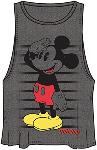 Disney Womens Adult Mickey Salutations Salute Tank Gray - SHOPME.COM