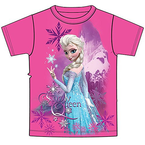 Disney Frozen Elsa The Snow Queen Girls T Shirt - Pink