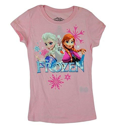Disney Frozen Trio Elsa Anna Olaf Graphic Girls Kids Pink Tshirt Tee - SHOPME.COM