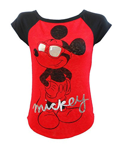 Disney Mickey Mouse Cool Red Black Juniors Fitted T-Shirt Sizes S-XL
