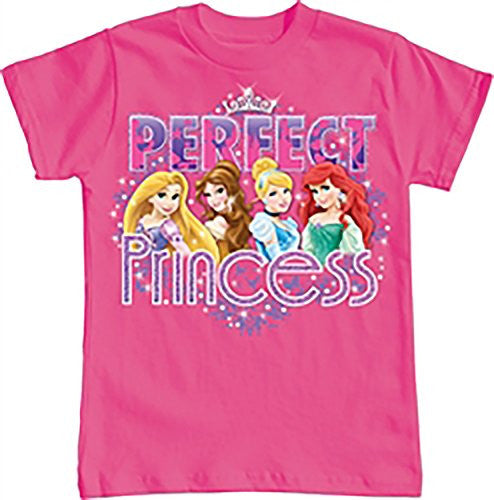 Disney Perfect Princess Little Girls T Shirt Top - Pink (Large) - SHOPME.COM