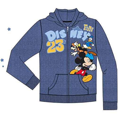 Disney Toddler Boys Disney Fun Run Mickey Goofy Donald Zipper Hoodie, Navy Blue - SHOPME.COM