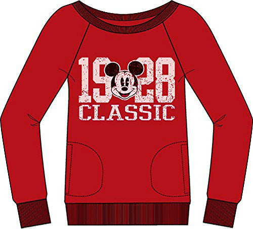 Disney Classic Mickey Mouse '1928' Womens Long Sleeve Sweatshirt - Red White