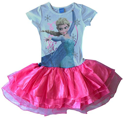 DISNEY FROZEN Girls Kung Fu Queen Elsa Dresss, XS (4-5), White/Pink