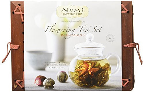 Numi Organic Tea Flowering Gift Set in Handcrafted Mahogany Bamboo Chest: Glass Teapot & 6 Flowering Tea Blossoms - SHOPME.COM
