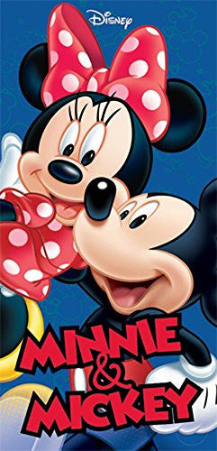 Disney Mickey Minnie Hug Beach Towel 28x58 - SHOPME.COM