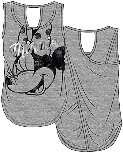 Minnie Silver Foil Junior Girls Open Back Tank , Gray - SHOPME.COM