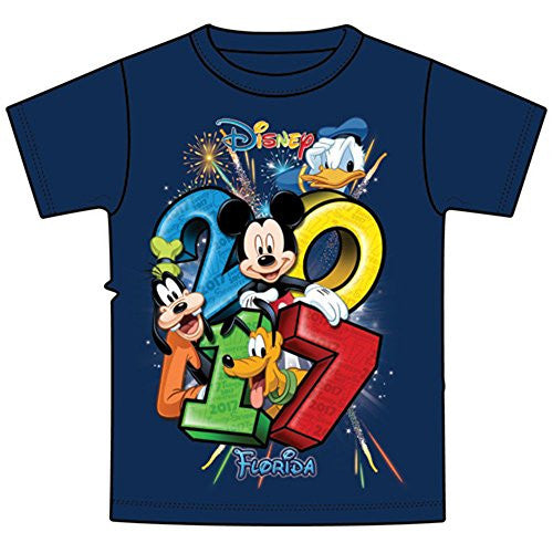 Disney Youth 2017 Dated Stacked Mickey Donald Goofy Pluto Tee, Navy (Florida Namedrop) - SHOPME.COM