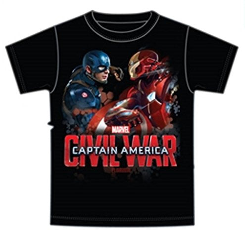 Marvel Captain America and Iron Man Tee Youth Boys T Shirt Biological vs Mechanical Friendly Fire - SHOPME.COM