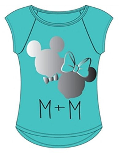 Disney Mickey Mouse + Minnie Mouse Tee with Foil Junior Cut Women Fashion Top T Shirt - SHOPME.COM