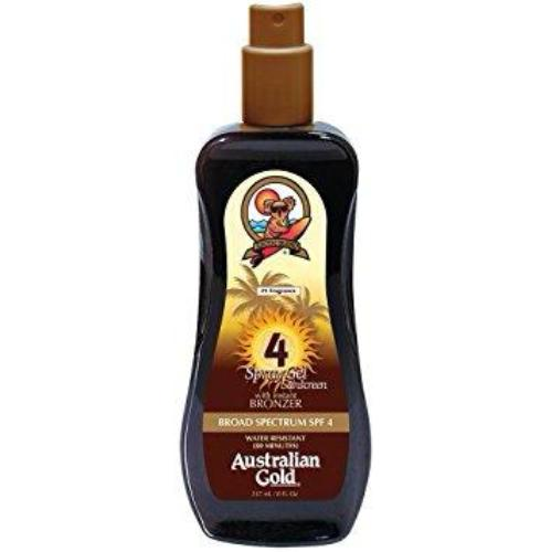 Australian Gold SPF 4 Spray Gel Sunscreen with Instant Bronzer, 8 Fl Oz - SHOPME.COM