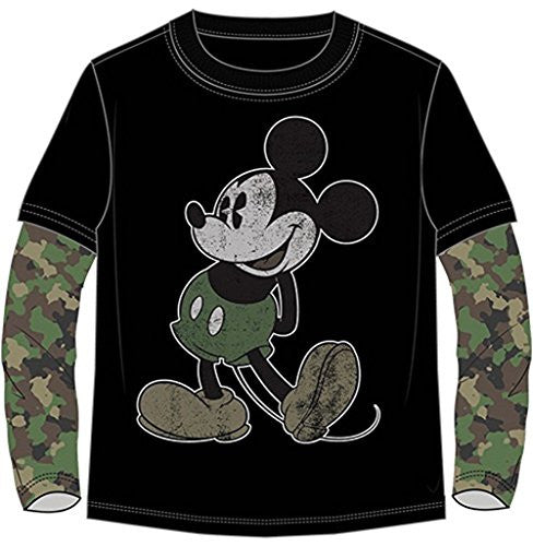 Disney Boys Mickey Mouse Long Sleeve Camo T Shirt (XS (4/5)) - SHOPME.COM