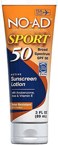 No-ad Sport Sunscreen Lotion SPF 50 3 Oz - SHOPME.COM