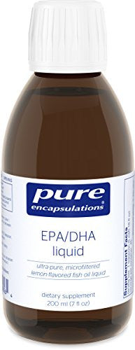 Pure Encapsulations - EPA/DHA Liquid - Ultra-Pure, Molecularly Distilled Fish Oil Liquid - Lemon Flavor - 200 ml (7 fl oz) - SHOPME.COM