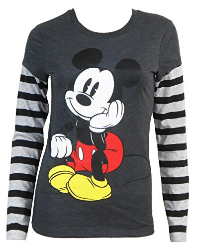 Disney Juniors Mickey Mouse Pondering Mickey Mouse Long Sleeve T-Shirt - SHOPME.COM