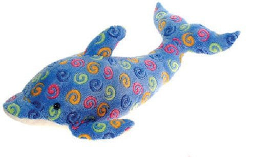 "23"" Large Blue Dolphin with Swirl Print Plush Stuffed Animal Toy by Fiesta Toys - SHOPME.COM"