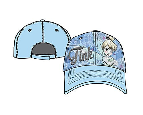 Disney Tinkerbell Tink Rosy Cheeks Baseball Cap Youth/Girls Hat, Blue - SHOPME.COM