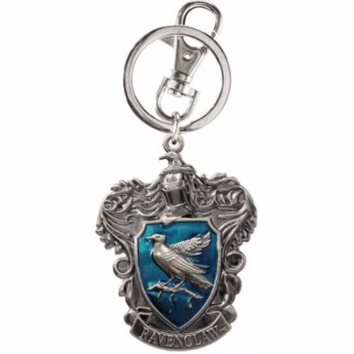 Harry Potter Ravenclaw Color Crest Silver Pewter Metal Keychain Key Ring Clip - SHOPME.COM