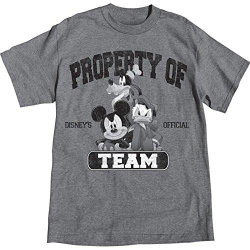 Disney Adult Men Property of Team Mickey Mouse Goofy Donald Duck T Shirt, Gray Tee - SHOPME.COM