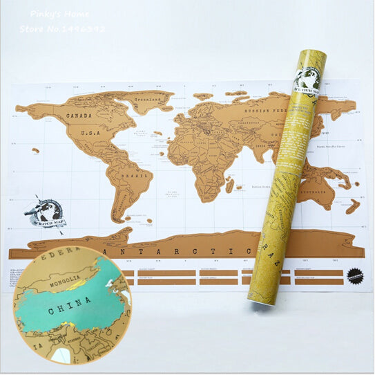HOT! Scratch-Off World Map Poster - WHITE