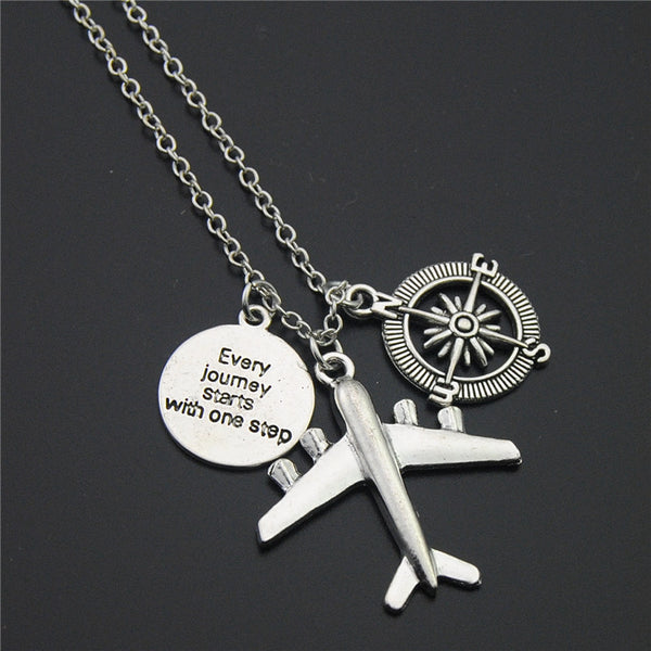 """Every Journey Starts With One Step"" Wanderer Necklace"