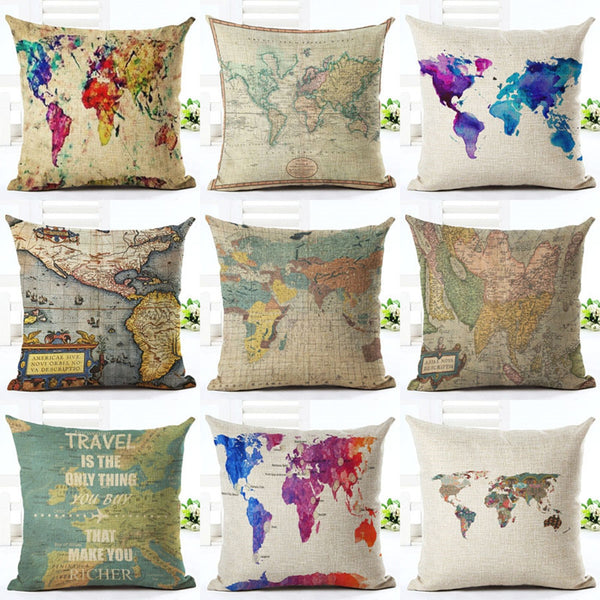 Premium Pillow Covers - World Map