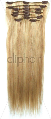 20 Inch Full Head Remy Clip in Human Hair Extensions - Golden Blonde/Bleach Blonde Mix (#16/613)