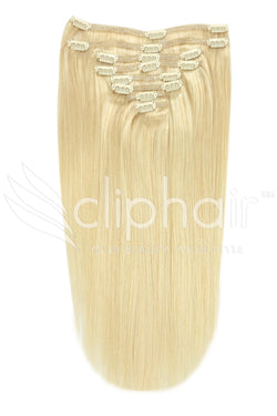 16 Inch Full Head Remy Clip in Human Hair Extensions - Bleach Blonde (#613)