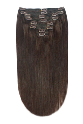 16 Inch Full Head Remy Clip in Human Hair Extensions - Darkest Brown (#2)