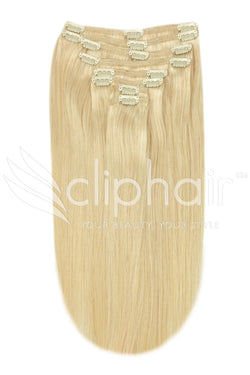 16 Inch Full Head Remy Clip in Human Hair Extensions - Light Ash Blonde (#22)