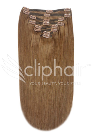 16 Inch Full Head Remy Clip in Human Hair Extensions - Light/Chestnut Brown (#6)