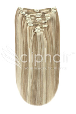 16 Inch Full Head Remy Clip in Human Hair Extensions - Lightest Brown/Bleach Blonde Mix (#18/613)