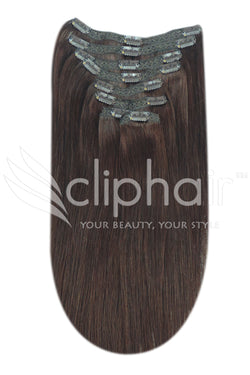 16 Inch Full Head Remy Clip in Human Hair Extensions - Medium Brown (#4)
