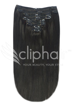 16 Inch Full Head Remy Clip in Human Hair Extensions - Off/Natural Black (#1B)