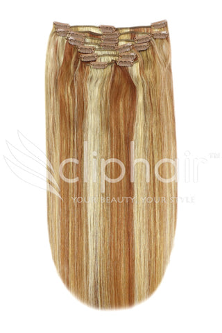 16 Inch Full Head Remy Clip in Human Hair Extensions - Strawberry Blonde/Auburn/Bleach Blonde Mix (#27/33/613)