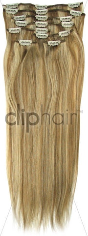 18 Inch Full Head Remy Clip in Human Hair Extensions - Lightest Brown/Bleach Blonde Mix (#18/613)