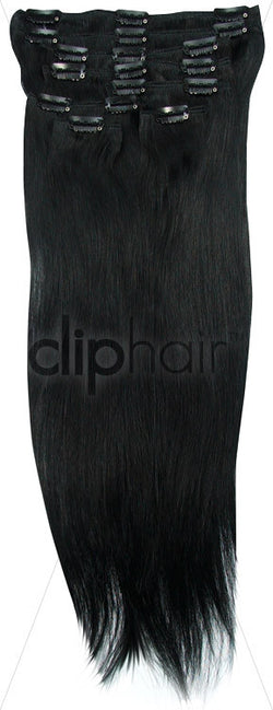 18 Inch Full Head Remy Clip in Human Hair Extensions - Jet Black (#1)