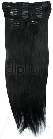 26 Inch Full Head Remy Clip in Human Hair Extensions - Jet Black (#1)