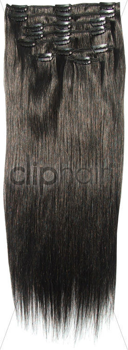24 Inch Full Head Remy Clip in Human Hair Extensions - Off/Natural Black (#1B)