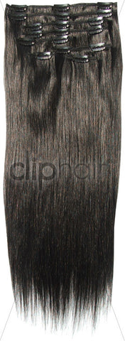 18 Inch Full Head Remy Clip in Human Hair Extensions - Off/Natural Black (#1B)