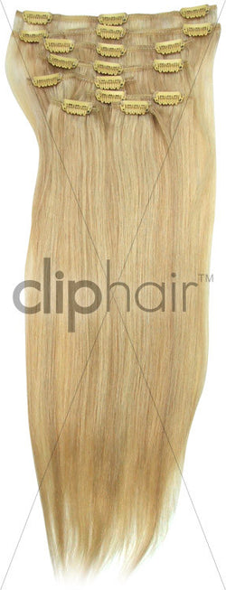 18 Inch Full Head Remy Clip in Human Hair Extensions - Ash Blonde/Bleach Blonde Mix (#22/613)