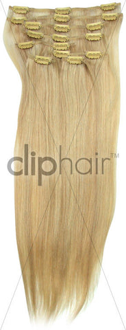20 Inch Full Head Remy Clip in Human Hair Extensions - Ash Blonde/Bleach Blonde Mix (#22/613)