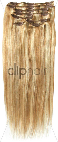 20 Inch Full Head Remy Clip in Human Hair Extensions - Strawberry Blonde/Bleach Blonde Mix (#27/613)